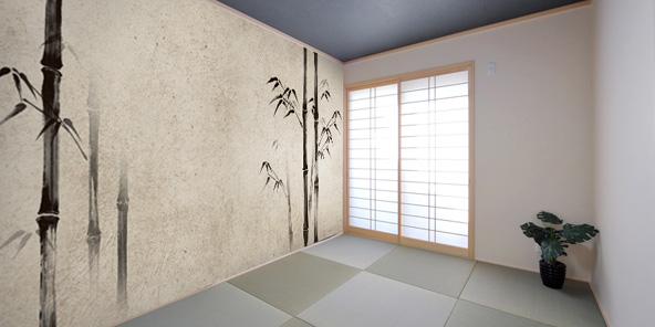 水墨画で描いた竹の壁紙