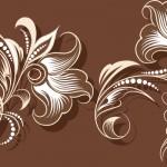 花のイラスト壁紙茶色