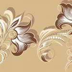 花のイラスト壁紙ベージュ色