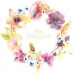花の水彩画風壁紙