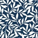 北欧風の葉っぱの壁紙紺色