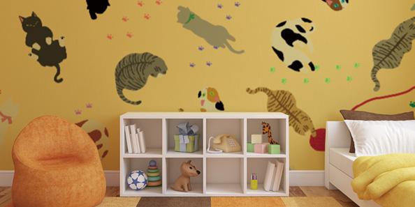 たくさんの猫をちりばめたかわいいアクセントクロス