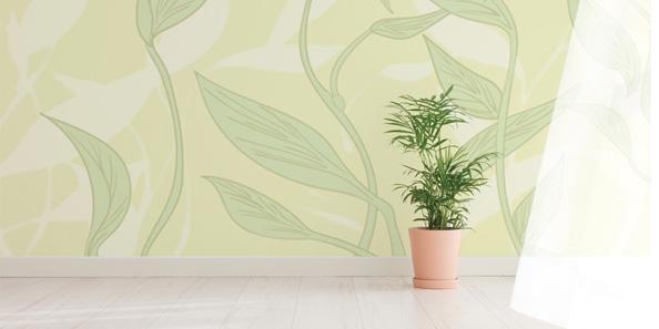 優しい植物のアクセント壁紙