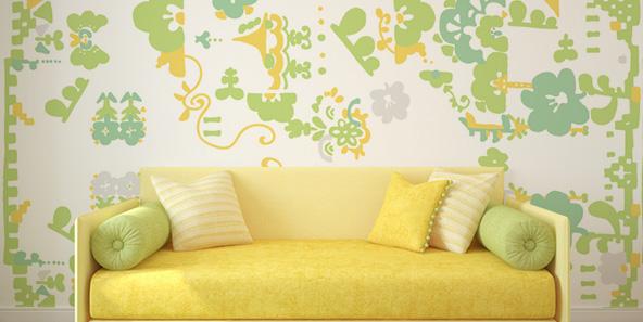 花柄の壁紙デザイン