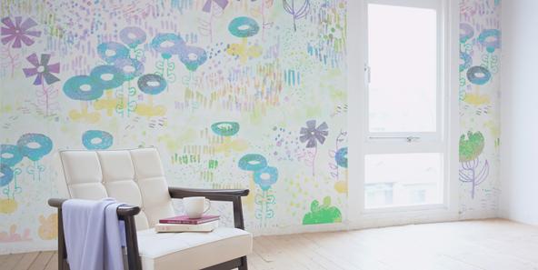 抽象花柄の壁紙
