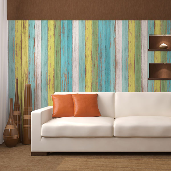 カラフルな木の壁紙
