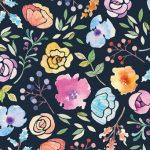紺色の花柄の壁紙