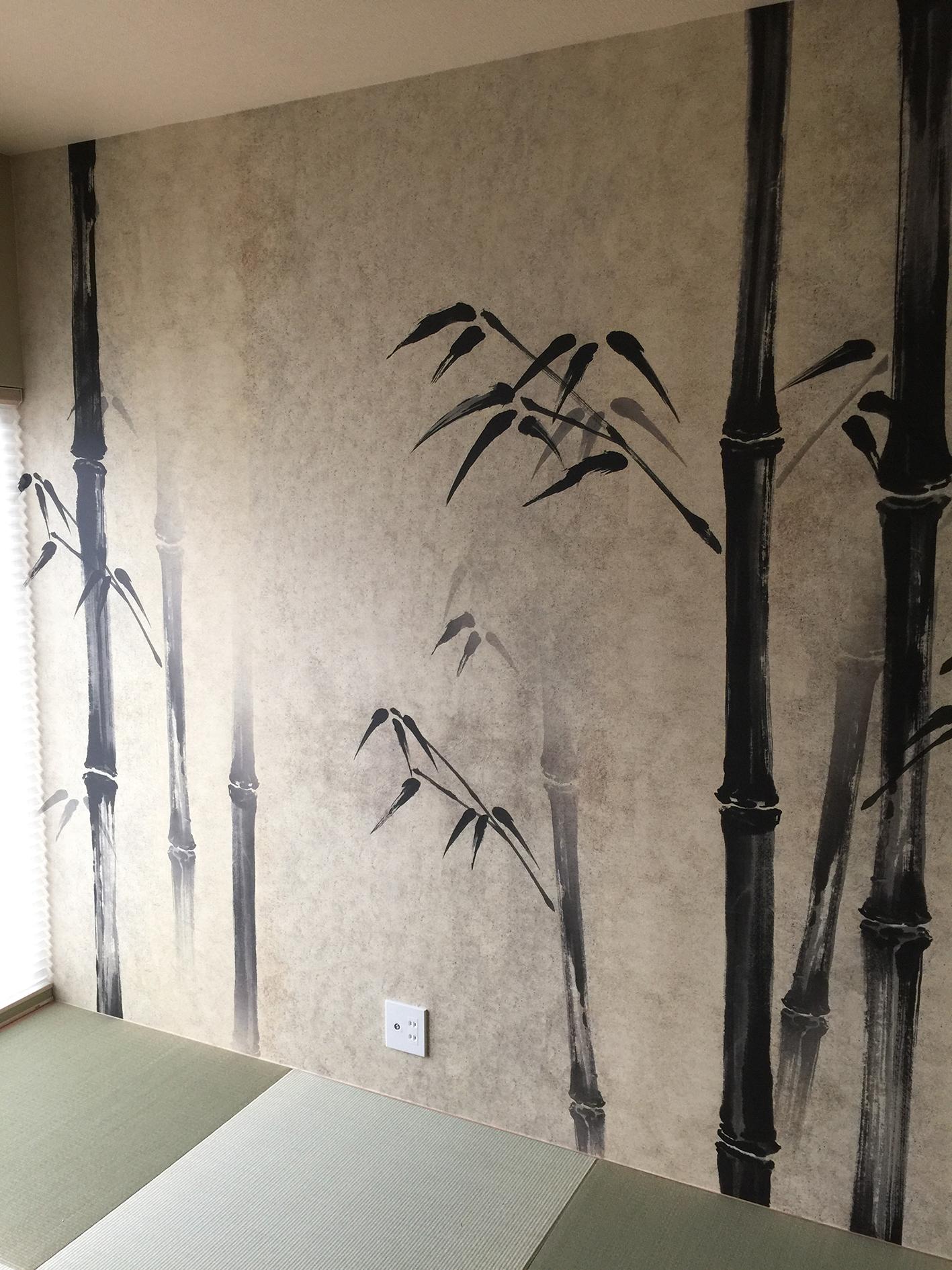 竹の水墨画の壁紙