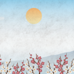 鶴と富士山の壁紙