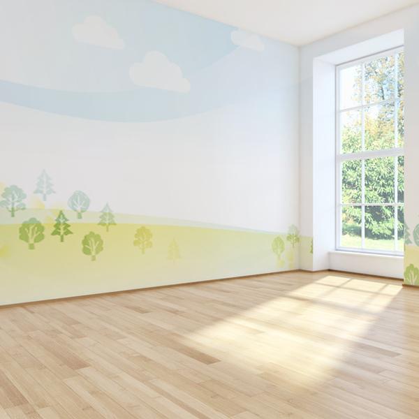 パステル調の森の壁紙