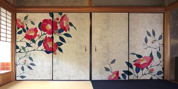 和風の椿の壁紙